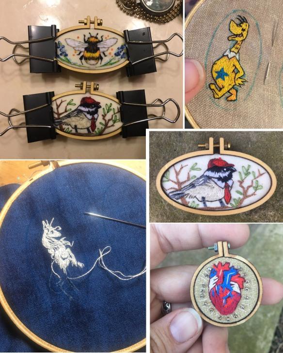 embroidery   busy mockingbird